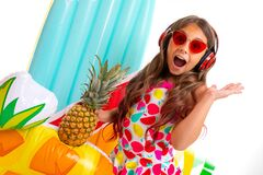 Free Teenager Caucasian Girl In Sunglasses With Pineapple And Rubber Mattresses Isolated On White Background Royalty Free Stock Image - 183769426