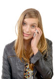 A teenager with a cell phone Stock Images