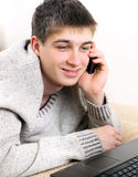 Teenager with Cellphone Stock Image