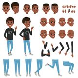 Teenager character constructor. Black boy s separate parts of body, different face expressions and haircuts. Isolated. Teenager character constructor. Black boy Royalty Free Stock Images