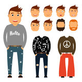 Teenager character creation set. Young man vector illustration. Boy constructor with various gesture, emotion on face. Hairstyle. Student, hippie, hipster Royalty Free Stock Photos