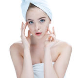 Teenager checking her face for pimple. Woman skin care concept / photos of ugly problem skin girl on white background Royalty Free Stock Photos