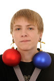 Teenager with christmas decoration Royalty Free Stock Photos