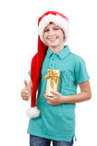 Teenager and christmas gift Stock Photo