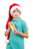 Teenager and christmas gift Stock Photography