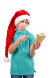 Teenager and christmas gift Royalty Free Stock Image