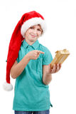 Teenager and christmas gift Royalty Free Stock Photos