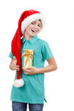 Teenager and christmas gift Royalty Free Stock Photography