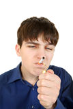Teenager with Cigarette Royalty Free Stock Photo