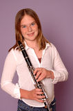 Teenager with clarinet Royalty Free Stock Image