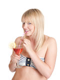 Teenager with cocktail. Pretty young blond woman with cocktail stock photography