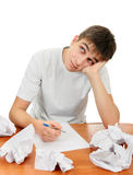 Teenager compose a Letter. On the White Background stock photography