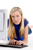 Teenager on Computer Stock Image