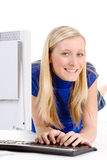 Teenager on Computer Royalty Free Stock Image