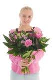 Teenager con i fiori Fotografia Stock