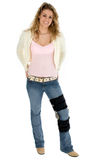 Teenager con la parentesi graffa del piedino con il percorso di residuo della potatura meccanica Immagine Stock Libera da Diritti