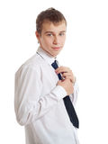 The teenager corrects a tie Stock Photos