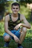 Teenager in countryside, closeup Stock Photos