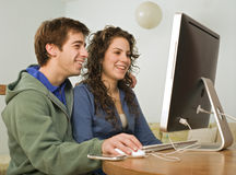 Teenager couple computer Stock Photos