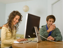 Teenager couple computer Stock Photography