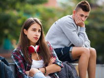 Teenager couple having an argue Stock Images