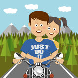 Teenager couple riding a motocycle outdoor. Flat illustration. Design Stock Photo