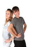 Teenager couple stand back to back Stock Image
