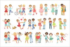 Teenager Couples In Love. Bright Color Cartoon Simple Style Flat Vector Set Of Stickers Isolated On White Background Stock Image