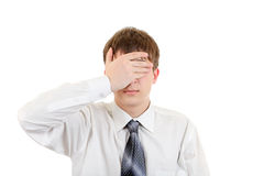 Teenager Covering his Eyes Stock Photo