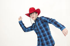 Teenager cowboy lasso. Isolated on white Stock Images