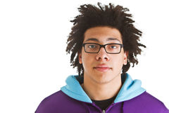 Teenager with crazy hair isolated Stock Photography