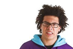Teenager with crazy hair isolated Royalty Free Stock Images