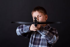 Teenager with a crossbow Stock Photos