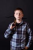 Teenager with a crossbow Stock Images
