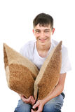 Teenager with Cushion Stock Photo