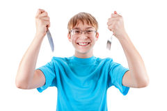 Teenager with Cutlery Stock Images