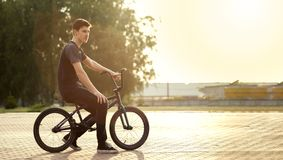 Teenager on a bicycle. Teenager Cycling on a bicycle outdoors Stock Photography