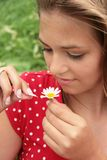 Teenager and daisy. Teenager counting petals of a daisy for love Royalty Free Stock Photos