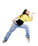 Teenager dancing breakdance in action over white Stock Photography