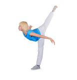Teenager dancing breakdance over white Stock Image