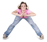 Teenager dancing hip-hop over white Royalty Free Stock Photo