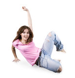 Teenager dancing hip-hop over white Royalty Free Stock Images