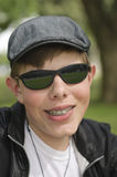 Teenager with dental braces Royalty Free Stock Photography