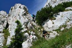 Teenager, der in Karpaten klettert stockfoto