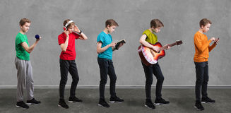 Teenager in different activities concept. Royalty Free Stock Image
