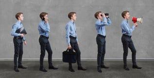 Teenager in different business activities concept. Studio shot on grey background Stock Image