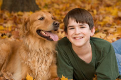 Teenager and Dog Royalty Free Stock Image