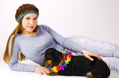 The teenager and a dog Stock Image
