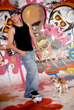 Teenager dog urban graffiti Royalty Free Stock Image