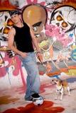 Teenager dog urban graffiti Royalty Free Stock Image